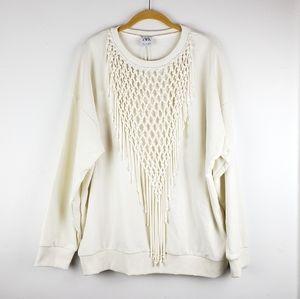 Zara Cream Macrame Pullover Top NWT